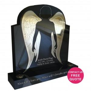 stainless steel angel wings headstone
