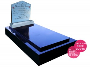 Ella Light Reflective headstone on Full Granite Monument for Website