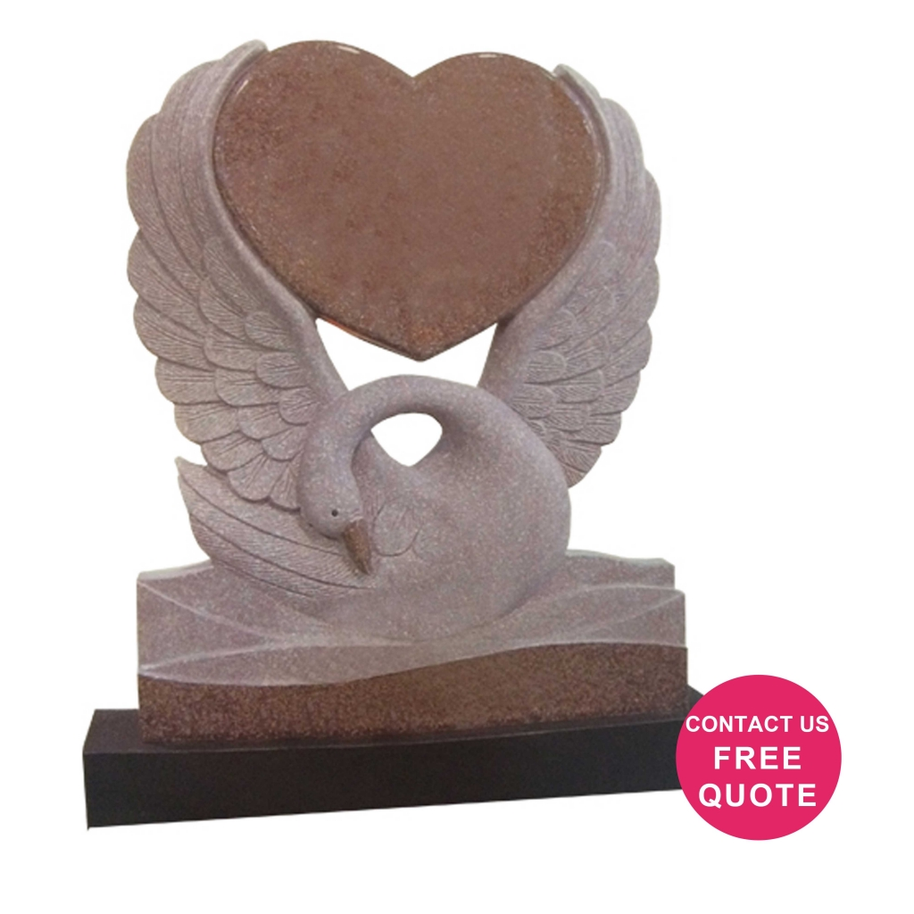 Carved Heart swan headstone