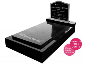 full monument with staninless steel headstone with granite insert