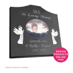 Stainless steel angels on curved top headstone