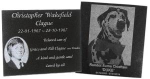 Granite plaques laser etched