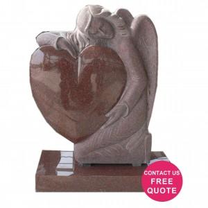 Angel heart carved headstone