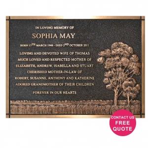 bush scene bronze plaque