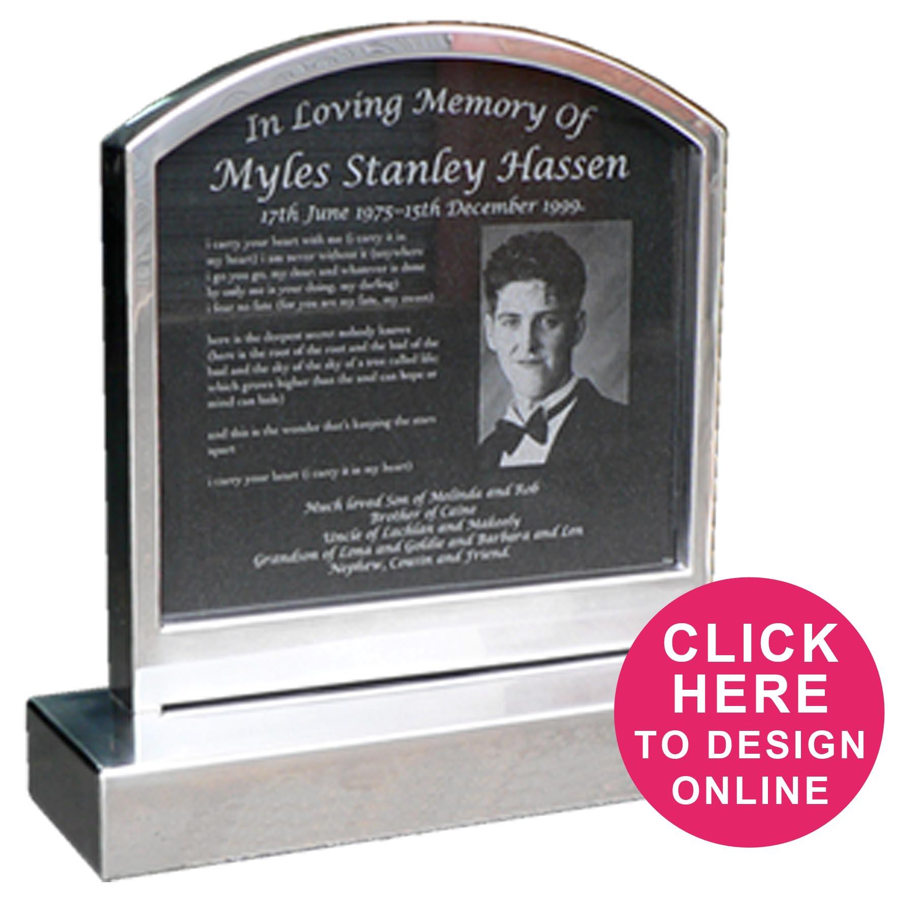 stainless inlaid granite headstones