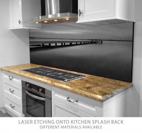 Laser etched granite splashback