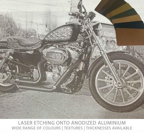 Laser etched anodized aluminium