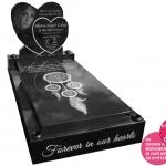 double heart full memorial laser etched design online