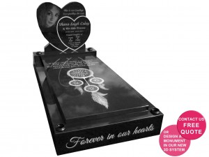 double heart full memorial laser etched design online