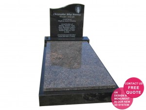 laser etched full memorial with english brown ledger