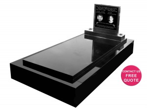 Full monument with stainless steel headstone with granite insert