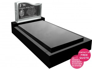 Full monument with Granite insert right hand wave stainless steel headstone