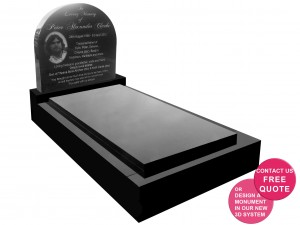 Laser etched curved top full memorial
