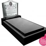 Stainless Steel light transmissive headstone on granite full memorial