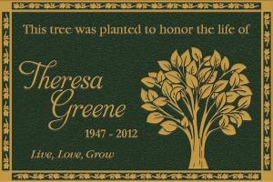 green garden tree bronze plaque