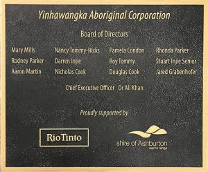 Aboriginal Corporation Yinhawangka bronze plaque supported by RioTinto