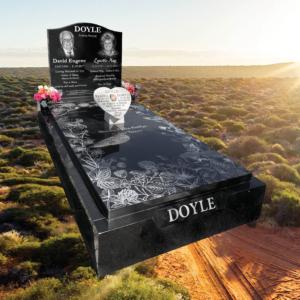 Buy Laser Etched Black Granite Full Monument